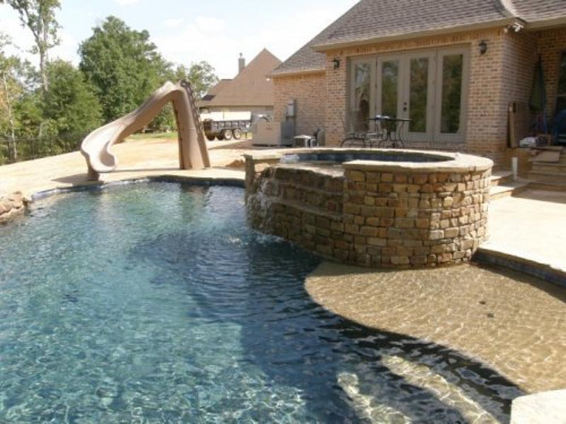 Custom Pool with Slide and Hot Tub 1