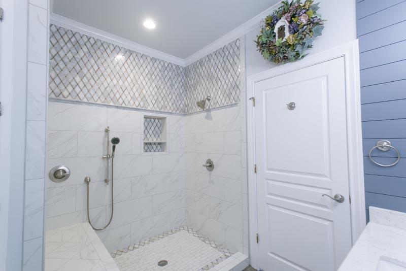 Custom Shower bathroom Remodel with Shiplap